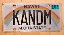"HAWAII VANITY LICENSE PLATE  "" KANDM ""  CANDYMAN KANDY MAN  KAN DM STYLE"