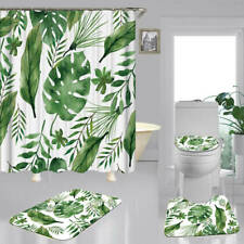 Palm Leaf Art Shower Curtain Bath Mat Toilet Cover Rug Bathroom Decor