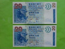 Hong Kong 20 Dollar 2003 Standard Chartered Bank (UNC), 2pcs Same Number, 538373