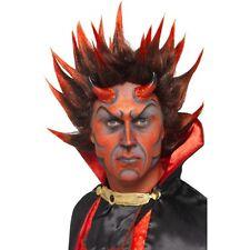 Mens Devil Punky Wig Red Black Spiky Demon Fancy Dress Satan Halloween Scary Fun