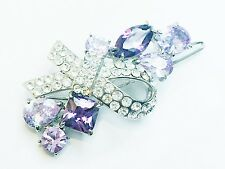 USA Hair Clip using Swarovski Crystal PIN Purple Barrette belt bow-knot Party