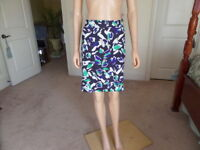 Ann Taylor LOFT Black Multi Color Print Cotton Pencil Skirt Size 8
