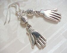 Human Hand Amulet Earrings Frida Kahlo HANDS Charm Evil Eye Bead STERLING SILVER