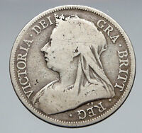 1893 UK Great Britain United Kingdom QUEEN VICTORIA 1/2 Crown Silver Coin i83057