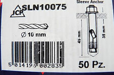 2 Boxes of 50 = 100 JCP Sleeve Anchor Bolts  10mm x 75mm   BRAND NEW & BOXED