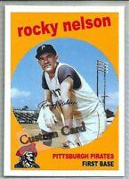 ROCKY NELSON PITTSBURGH PIRATES 1959 STYLE CUSTOM MADE BASEBALL CARD BLANK BACK