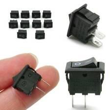 10Pcs 10x15mm SPST ON/OFF Switch Mini Black 2 Pin Rocker Switch DC 12V 16A Kit