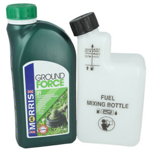 1 Litre Of 2 Stroke Oil & Fuel Petrol Mixing Bottle Ideal For Most Chainsaws