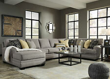 Superb Large Gray Microfiber Sectional Sofa Couch Chaise   MERIDA 4pcs Living Room  Set