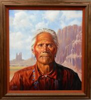 Original Irving Toddy Navajo Chief Painting Native American Award Winning Artist