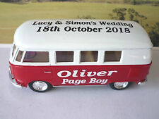 Wedding Day Personalised Page Boy Usher Name Gift Toy VW Camper Bus Wedding Car