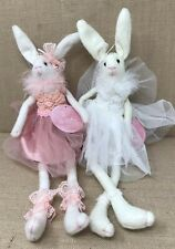 Modern  Bunny Plush Set Of 2 One Pink And One White