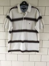 URBAN Vintage con Tommy Hilfiger Polo a Righe Manica Corta Top Uk Grande #11