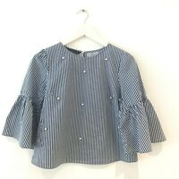 ZARA Blue Stripe Blouse Top Pearl Bell Sleeve White Boxy Blogger Summer M