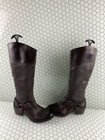 Vince Camuto BRUNAH Brown Leather Side Zip Calf High Boots Women's Size 7.5 M