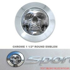 "Chrome 1 1/2"" Round Adhesive Emblem - Car Truck SUV Motorcycle - CHROME SKULL F"