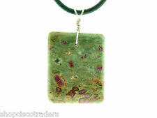 Ruby Zoisite ANYOLITE Wire Wrap Necklace A044-13F Leather Cord Psychic Energy