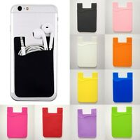 Chic Silicone Mobile Phone Wallet Credit Card Cash Stick Adhesive Holder Case #z