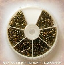 FINDINGS ANTIQUE BRONZE PLATE MIX SIZE JUMP RINGS BEADS / BOX / JEWELLERY MAKING