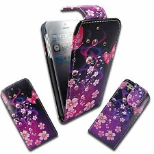 CASE FOR APPLE IPHONE 5 FLIP PU LEATHER PURPLE PINK FLOWER BUTTERFLY POUCH COVER