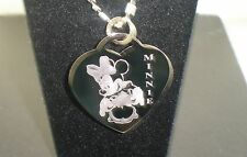MINNIE MOUSE Disney Heart Dog Tag Pendant Necklace