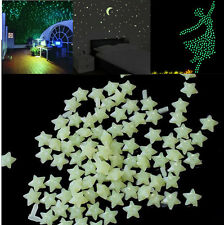 200pcs Glow In The Dark 3D Stars Moon Stickers Bedroom Home Wall Room Decor DIY