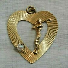 Vintage 1959 14K Yellow Gold Lady Golfer with Pearl Ball Heart Charm