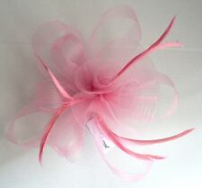 NEW Pink looped net and feather fascinator clip pin wedding prom races