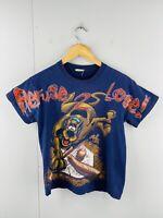 Scooby Doo Women's Vintage Short Sleeve Crew Neck T Shirt Size M Blue Baseball