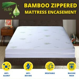 Luxury Anti Bed Bug Mattress Protector Bamboo Mattress Zip Cover Double Bedding