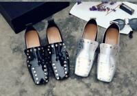 Rivets Square Toe Block Low Heels Slip On Loafers Women's Shoes Zsell