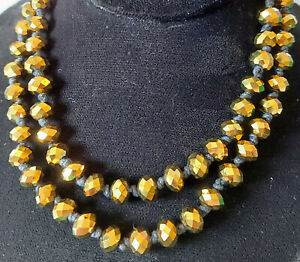 Vintage Flapper Length Necklace of Beautiful Metallic Gold Colour Crystal Beads