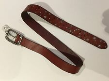 DIESEL MEN 100% LEATHER STUDS BELT RED / BROWN PREMIUM QUALITY NWT L $169 ITALY