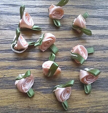 10 Small Satin Ribbon Peach coloured rose buds 20mm wide