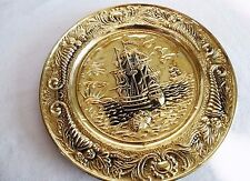 "ENGLAND BRASS  PLATE WALL HANGING NAUTICAL GALLEON SHIP  ""14"