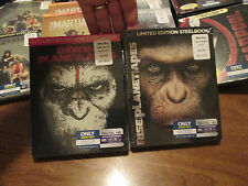 RISE & DAWN OF THE PLANET OF THE APES BLU-RAY & DIG. * STEELBOOK SET LOT 2 FILM
