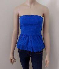 Abercrombie Womens Eyelet Strapless Shirt Size XS Tube Top Blue Blouse