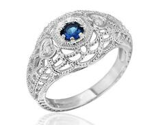 Sterling Silver 1/3ct CZ Blue Sapphire Milgrain Ring Art Deco Inspired Size 7