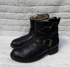 Frye Engineer Short Black Shearling Lined Women's Boots Size USA 7 B