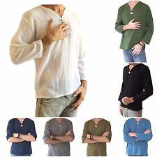 Men's Summer T-Shirt 100% Cotton Thai Hippie Shirt V-Neck Beach Yoga Top