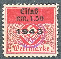 Stamp Germany Elfab Lothringen Revenue WWII Emblem Fascism War 1943 Used