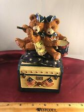 """Russ Patriotic Moving Teddy Bears On A Chest """"Toyland"""" Music Box"""