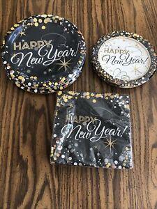 "Happy New Year Plates(24-8 5/8"" & 16-6 3/4"")/Napkins (54-6.5"") Black/Gold/White"