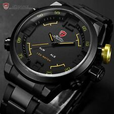 Men's SHARK LED Big Face Date Day Black Steel Band Sport Quartz mens Wrist Watch