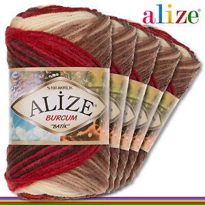 Alize 5x100 G Burcum Batik Premium Lana 100% Acrílico 4574 Tejidos de Gradiente