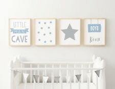Set of 4 Little Man Cave Boys Room Kids Nursery Wall Art Prints Blue & Grey 7x5