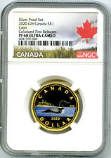 2020 $1 CANADA SILVER PROOF LOONIE DOLLAR NGC PF68 GILT COLORED LOON FR RARE !