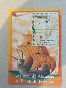 Brazil 500 Years of the Signature of the Treaty of Tordesillas mini sheet stamp