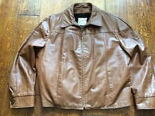 men vintage Fieldston for town & country brown leather jacket,removable liner XL
