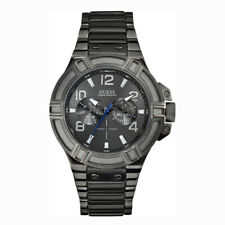 Watch Guess W0218G1 Rigor analogue steel men's watch dark gray 45mm Gunmetal